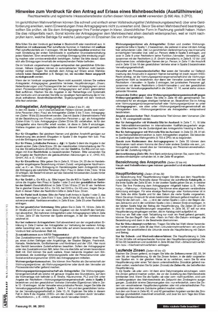 Formulare Gerichtliches Mahnverfahren Und Zwangsvollstreckung